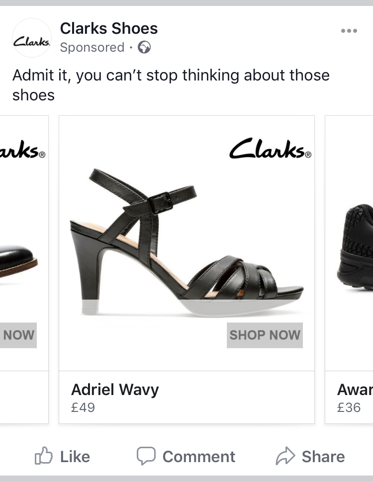 screen shot of a clarks advert.  Shows a party shoe and the text says 'Admit it, you can't stop thinking about these shoes""
