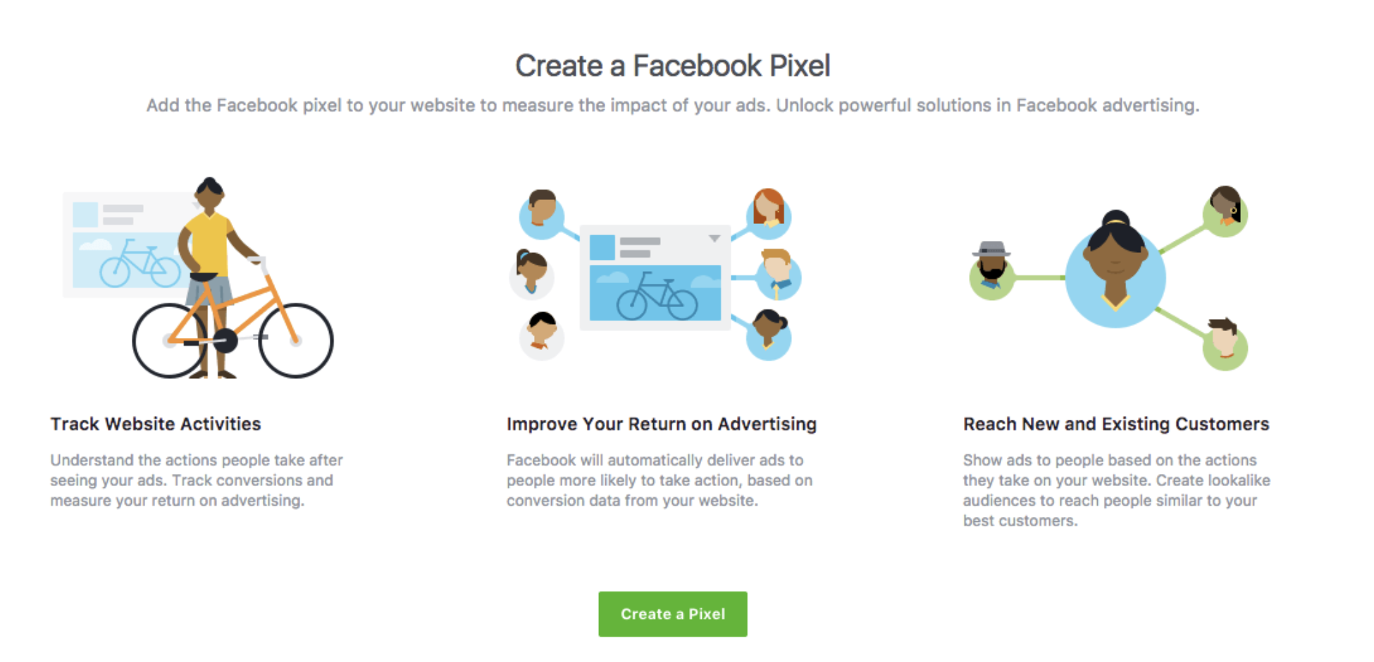 screenshot showing how to create the facebook pixel.