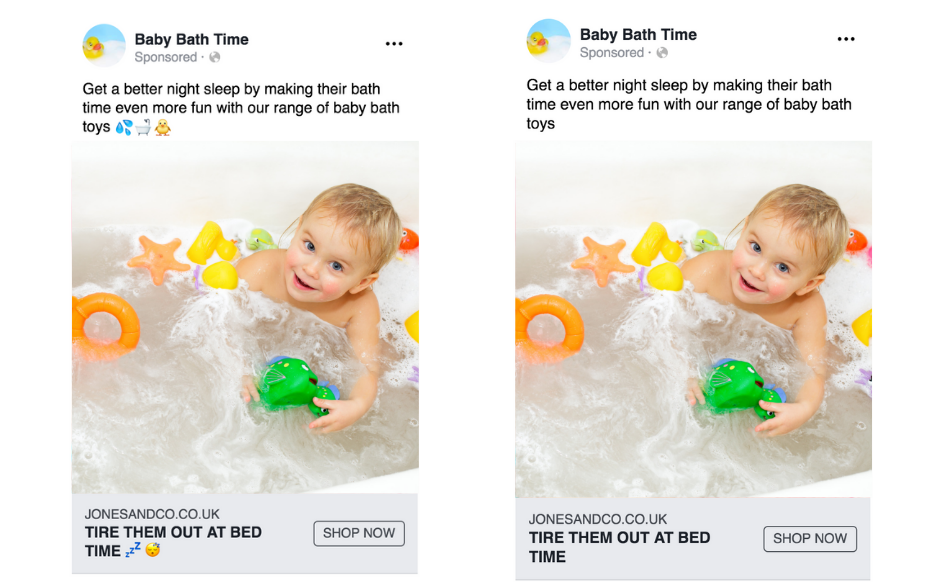 Facebook ads for baby bath time toys