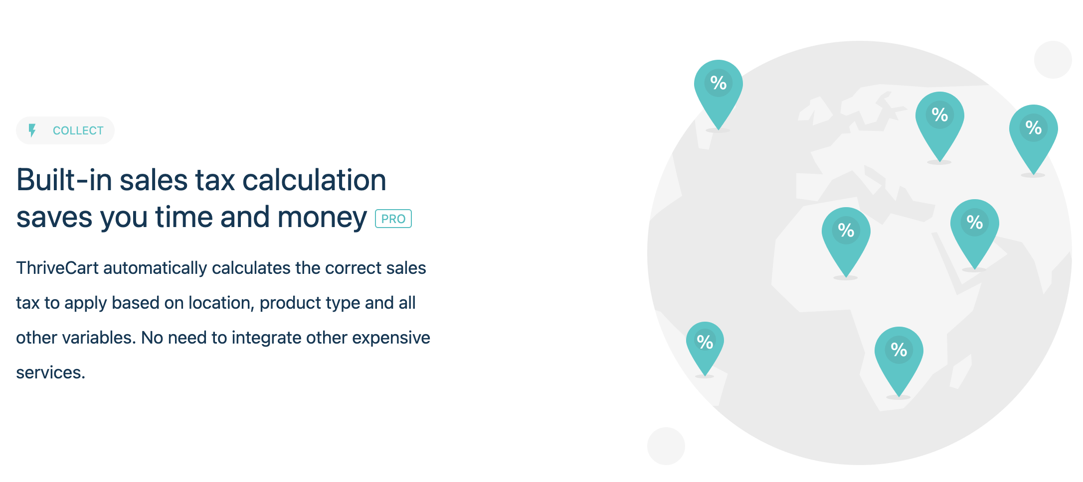 ThriveCart review: ThriveCart automatically calculates the correct sales tax to apply based on location, product type and all other variables. No need to integrate other expensive services.